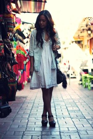 gifted dress - denim shirt Urban Outfitters blouse - Zara clogs