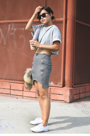 heather gray terry Forever 21 shirt - heather gray terry Delacy skirt
