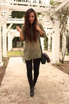 army green H&M shirt - black H&M leggings - black sam edelman clogs - black calv