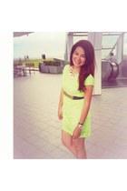 white gold Accessorize necklace - lime green laser cut dress H&M dress