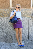 maroon Zara skirt - light blue unknown shirt - navy Marc Jacobs bag