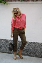 salmon Zara shirt - forest green DKNY bag - army green Mango pants