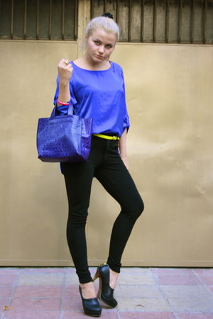 blue Zara shirt - navy Furla bag - black Zara heels
