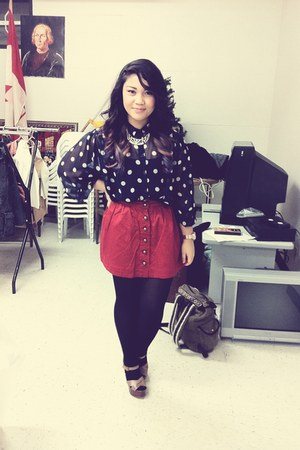 navy polkadot vintage blouse - red button down Forever21 skirt
