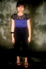 Lacey-top-blouse-velvet-black-pants-shoes