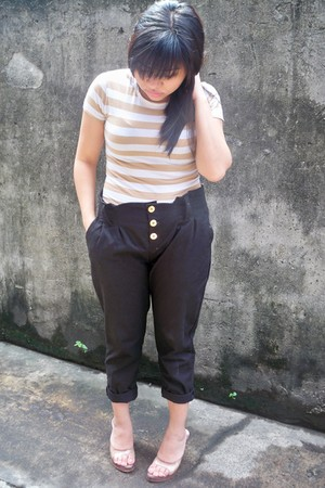 black trouser pants - glass shoes