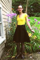 Wet Seal shirt - skirt - tights - payless shoes - belt