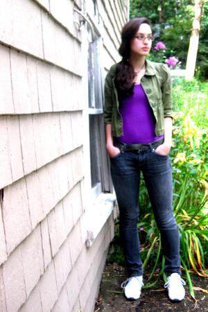 jacket - Wet Seal skirt - belt - jeans - Rebok shoes - necklace