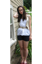 West Seal - Wet Seal top - Macys shorts - belt - hand-me-down vest - payless sho