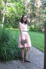 Pink-thrifted-lord-taylor-dress-brown-forever-21-sandals-brown-belt-limite