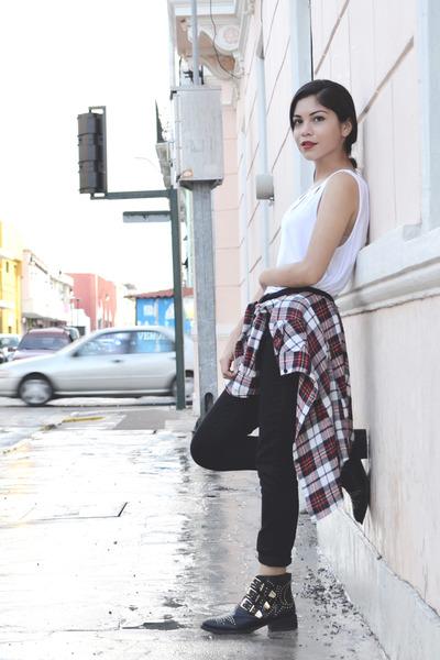 white Forever 21 blouse - black sugar boots - red vintage shirt
