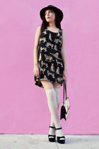 vintage hat - Forever21 dress - Anne Klein bag - Brash heels
