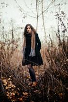 burnt orange vintage blouse - tawny Ambra shoes - black Nife dress