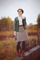 teal troll jacket - heather gray tweed refashioned skirt