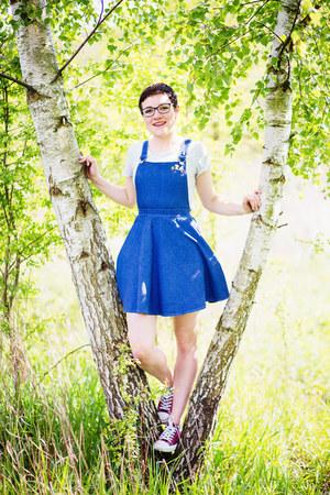 blue denim pinafore a Robot Heart dress - white striped romwe blouse