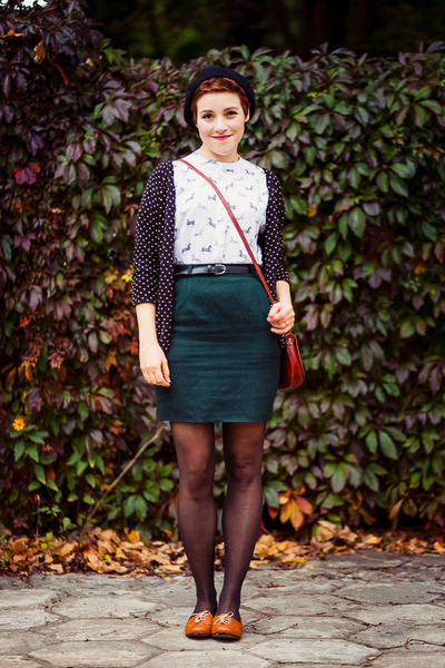 white printed Medicine blouse - forest green pencil vintage skirt