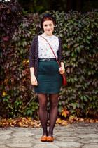 white printed Medicine blouse - forest green pencil vintage skirt