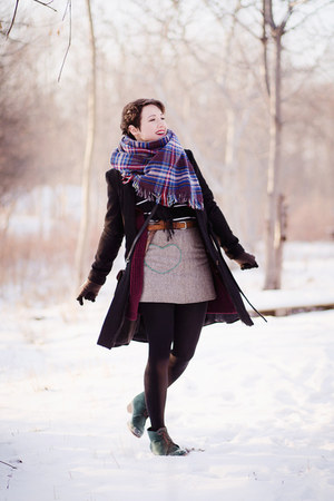 black Top Secret coat - magenta thrifted cardigan - heather gray handmade skirt