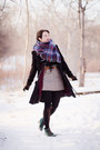 Black-top-secret-coat-magenta-thrifted-cardigan-heather-gray-handmade-skirt
