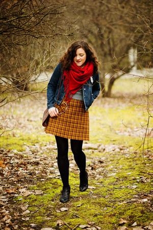 burnt orange wool DIY skirt - black leather Zign boots
