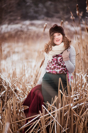 ruby red Book of Deer top - forest green vintage skirt - silver troll cardigan