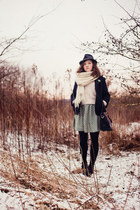 dark green thrifted dress - navy vintage blazer - ivory gift scarf