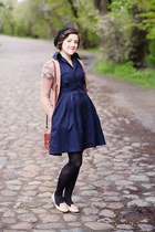 light pink thrifted cardigan - navy handmade dress - black funpol tights