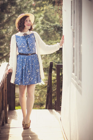 blue handmade dress - white handmade cardigan