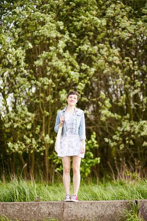 white a Robot Heart dress - light blue denim thrifted jacket