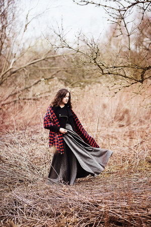 silver thrifted vintage skirt - black Bershka jacket - ruby red handmade scarf
