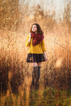 navy wool handmade skirt - black Bershka jacket - mustard thrifted sweater