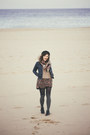 Black-ankle-boots-zign-boots-navy-denim-thrifted-jacket-beige-mango-sweater