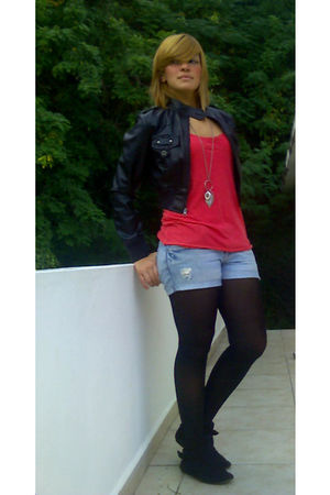 black Kaya boots - black Betsey Johnson tights - blue American Eagle shorts - bl