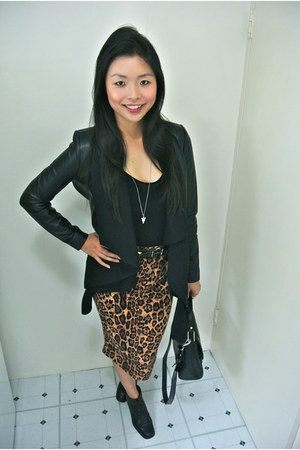 Topshop boots - SAXONY jacket - Mimco bag - Topshop top - random boutique skirt