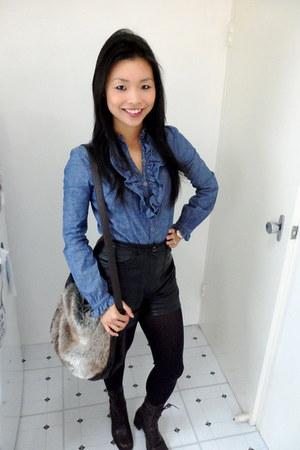sass & bide shirt - Glassons bag - Vintage leather shorts