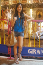 blue top - vest - shorts - Primadonna shoes - Dooney & Bourke purse