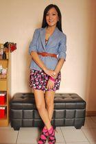 purple random brand top - blue blazer - skirt - purple Matthews shoes - pink Dic