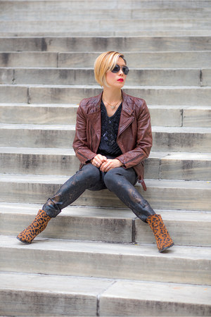 brown andrew marc jacket - dark brown Zara boots