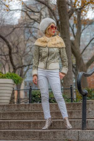 white vintage hat - white vintage jacket