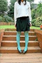 moms blouse - Wal Mart skirt - kohls tights - Wal Mart shoes