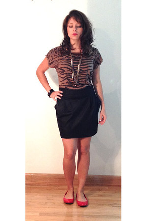 red flats - black skirt - black blouse - brown blouse