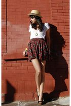 yellow BDG hat - white Urban Outfitters shirt - red vintage from Rock Paper Vint