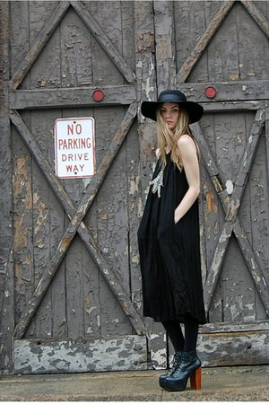 black vintage from Rock Paper Vintage dress - black mr floppy Forever 21 hat - b