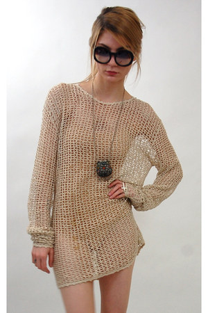 tan crochet Rock Paper Vintage dress
