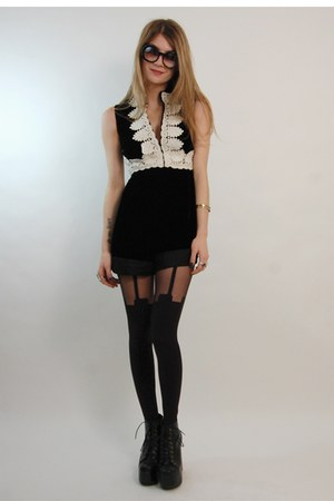 black House of Holland tights - black vintage from Rock Paper Vintage romper - b