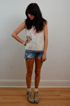 white Rock Paper Vintage top - blue DIY shorts