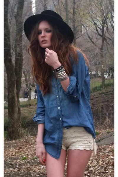 black black hold my gold hat - blue chambray hold my gold shirt - ivory crochet