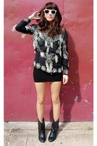 black vintage from Ebay top - black welovecolorscom dress - black Forever 21 boo