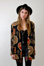 Black-chain-fedora-forever-21-hat-navy-sheer-jacket-rock-paper-vintage-jacket-