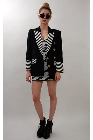 white u American Apparel dress - black vintage from Rock Paper Vintage blazer -